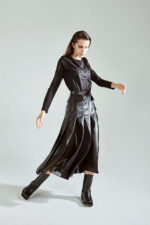 Long skirt with organza ( eco leather )